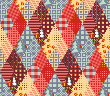 quilting: Seamless patchwork pattern for Christmas. Quilting of rhombus different patches. Vector illustration.