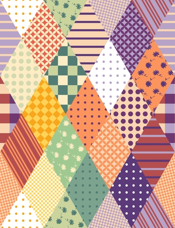 Colorful seamless patchwork pattern. Vector illustration of quilt. Illustration