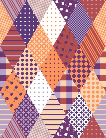quilting: Vintage seamless patchwork pattern. Vector illustration of quilting.