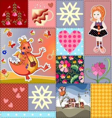 Childish seamless patchwork pattern with fairy dragon, princess and castle. Colorful patches with teacup, flowers and hearts. Cute vector illustration of quilt. Illustration