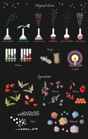 bottle of medicine: Set of fantasy alchemy elements: magical elixirs and ingredients. Vector collection.