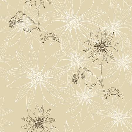 Vintage seamless pattern with beautiful flowers. Hand drawn floral vector illustration. Ilustração Vetorial