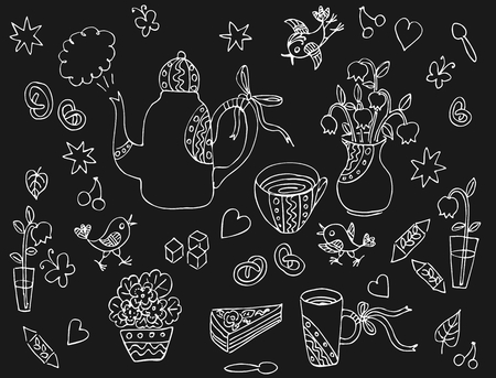 sweetness: Collection of cute hand drawn elements for tea party - teapot, cups, spoons, vases with flowers, sweetness. White lines on black background. Monochrome vector illustration. Illustration