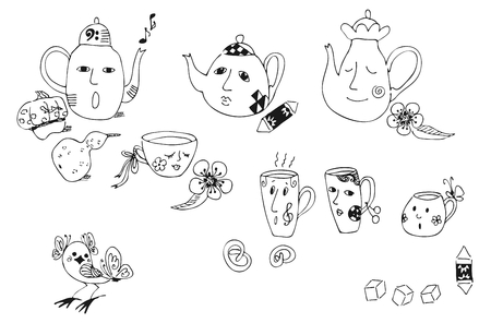 sweetness: Collection of cartoon hand drawn elements for tea party - teapots, cups, sweetness. Black lines on white background. Childish monochrome vector illustration.