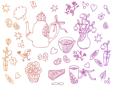 sweetness: Beautiful card with hand drawn elements for tea party - teapot, cups, spoons, vases with flowers, sweetness. Vector illustration.