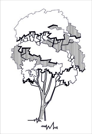 Stilisierter Baum, Schwarz-Weiß-Darstellung. Standard-Bild