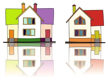 case colorate: Illustrazione di due case colorate Archivio Fotografico