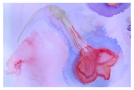 fragrant: Beautiful pink flower, watercolor painting. Fragrant tobacco. Scented tobacco.