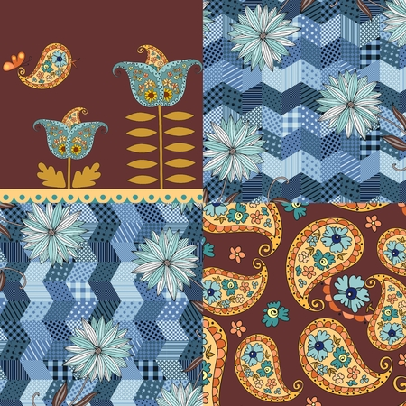 patchwork pattern: Patchwork pattern with blue flowers and paisley ornament. Vector illustration.