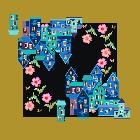 neck scarf: Silk neck scarf or kerchief square pattern design style for print on fabric. Card with town of dreams - with cute houses and flowers. illustration.