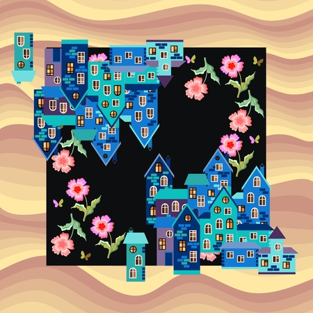 kerchief: Bandana print or silk neck scarf. Kerchief square pattern. Card with town in desert - blue houses and pink flowers on sand background. illustration. Illustration