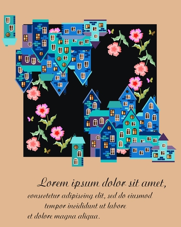 Card with cute houses and flowers. Can be used for greeting or invitation cards, covers, posters. illustration with blue town.