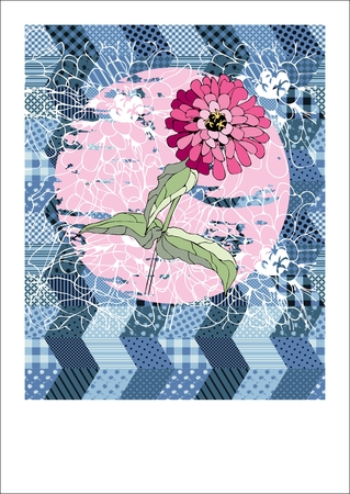 patchwork background: Cute card with pink flower on patchwork background with place for text. illustration.