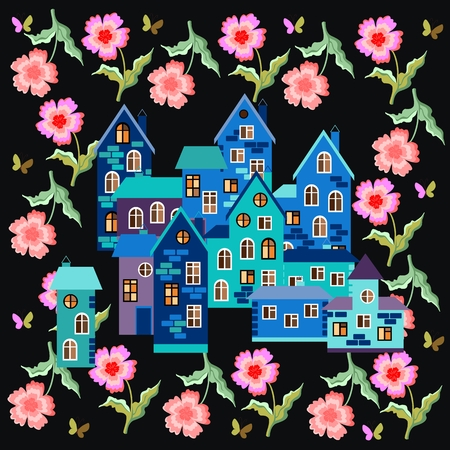 silk scarf: Summer night. Card with town surrounded by flowers. Bandana print or silk neck scarf. Kerchief square pattern design style for print on fabric. illustration.