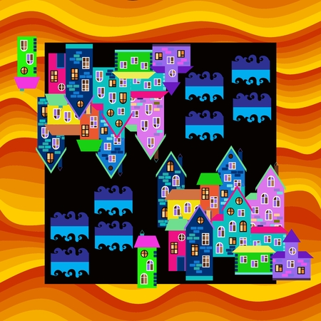 a mirage: Bright colorful bandana print or silk neck scarf. Card with town in desert. Mirage. illustration. Illustration