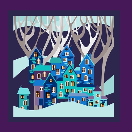 snowdrifts: Winter. Bandana print or kerchief square pattern design style for print on fabric. Card with night town in snowdrifts. illustration.