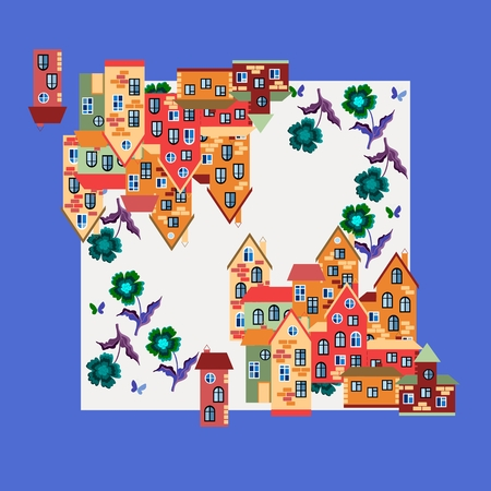 kerchief: Spring. Silk neck scarf or kerchief square pattern design style for print on fabric. Card with town. illustration. Illustration