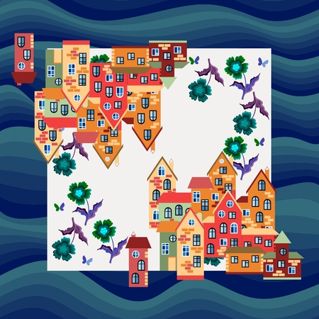 neck scarf: City by the sea. Silk neck scarf or bandana print. Kerchief square pattern design style for print on fabric. illustration with bright houses and flowers on marine background.