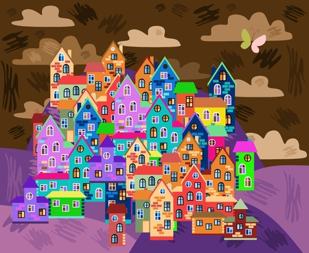 multistory: Card with colorful town at night. Cute bright houses on the hills. Cartoon vector illustration. Illustration
