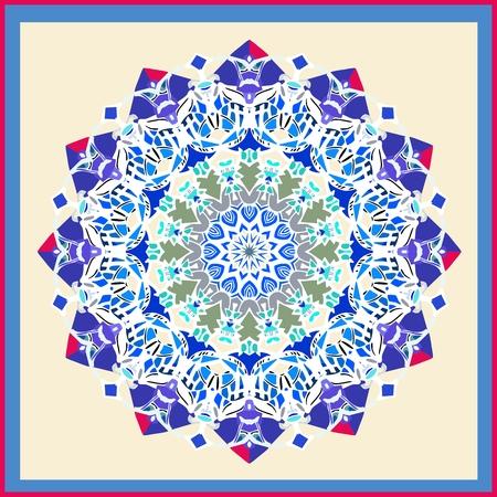 neck scarf: Bandana print with mandala. Decorative ornamental silk neck scarf design. Vector illustration of kerchief square pattern design style for print on fabric