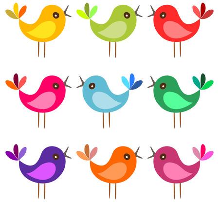 oiseau dessin: oiseaux color�s mignons. oiseaux de bande dessin�e chantent sur fond blanc. Vector illustration. Illustration