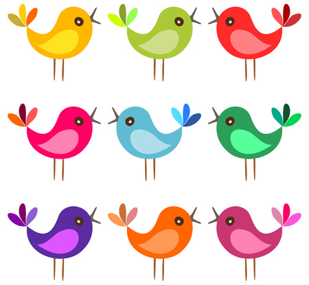 caricatura mosca: pájaros de colores lindos. pájaros de la historieta cantan sobre fondo blanco. Ilustración del vector.