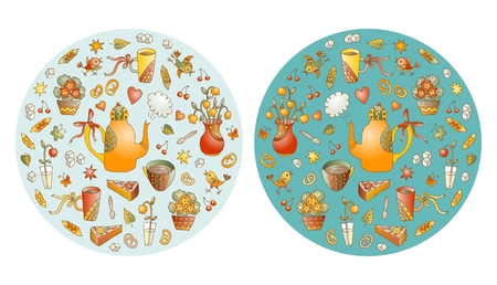 Tea time. Beautiful round shape made of cute hand drawn elements for tea party - teapots, cups, vases with flowers and birds. Vector illustration of circle made of sweets.