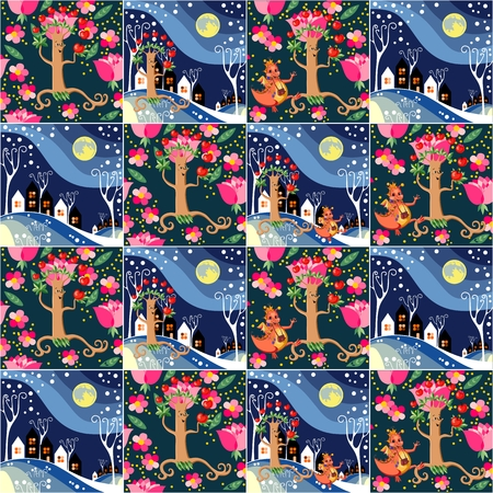 patchwork landscape: Cute seamless childish patchwork pattern. Adventure of apple tree and happy dragon. Can be used for kitchen textile or bed linen fabric, interior wallpaper design. Fairy vector illustration.