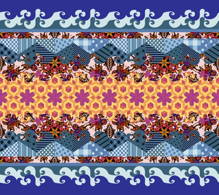 chequered drapery: Vector abstract seamless patchwork pattern. Decorative ornament of colorful waves. Textile design. Illustration