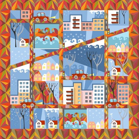 anticipation: Autumn town in anticipation of winter. Cute cartoon city map on ornamental background. Vector illustration