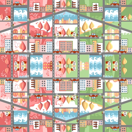 multistory: Cute cartoon seamless town map. Spring and summer cityscape. Childish vector illustration. Can be used for floor carpeting, wallpapers, bed linen fabric. Illustration