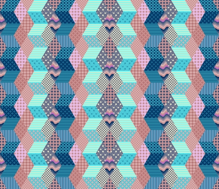 chequered drapery: Zigzag seamless patchwork pattern. Vector illustration of quilt in blue and pink tones.