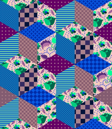 quilting: Seamless patchwork pattern. Quilting design from different patches with dots, stripes and flowers. Vector illustration.