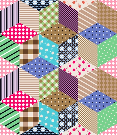 patchwork pattern: Seamless patchwork pattern. Ornamental background. Vector illustration.