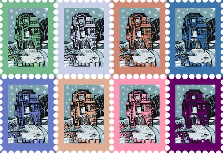 postage stamps: Colorful postage stamps with beautiful castle. Vector illustration.