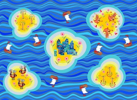 Naadloze kaart van fantasy land. Eilanden met sprookjesachtige stad, vogels, draken en bomen. Oceaan met blauwe golven en schepen. Kinderachtige Illustratie. Kan gebruikt worden voor vloerbedekking, behang, stoffen.