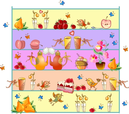 teapot: Shelves with teapots, teacups, flowers, fruits, berries, cakes and birds. Cute kitchen design. Beautiful colorful hand drawn vector illustration.
