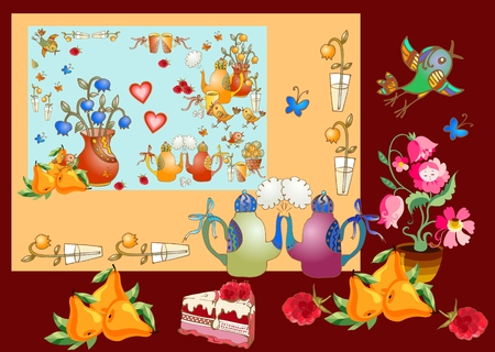 teatime: Tea party. Beautiful card with teapots, vases with flowers, cakes, tasty pears and berries, cups, hearts and birds. Cute vector illustration for teatime. Illustration