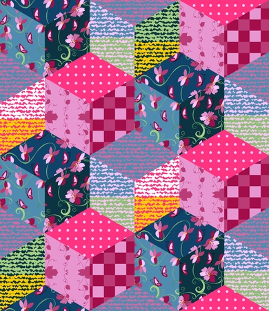 Bright multicolor patchwork pattern. Seamless vector illustration of quilt. 矢量图像