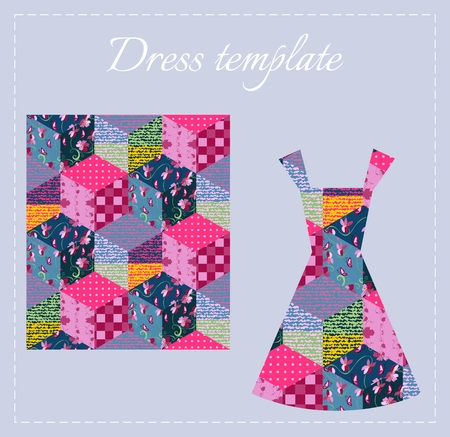 Card with beautiful summer patchwork female dress. Colorful seamless patchwork pattern. Fashion design. Vector illustration.