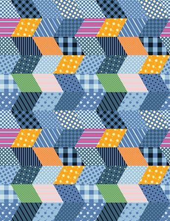 chequered drapery: Seamless patchwork pattern - stylized night city - yellow patches as windows and blue patches as houses.