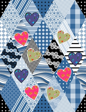 chequered drapery: Patchwork quilt with hearts and rhombuses. Seamless pattern. Vector illustration.