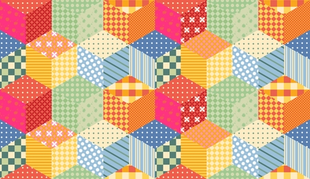 patchwork quilt: Bright seamless patchwork pattern. Childish quilt from colorful cubes. Illustration