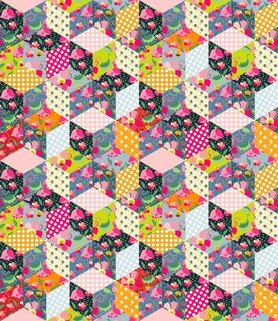カラフルなシームレスなパッチワークのパターン。キルト花、水玉模様の別のパッチから葉し、紅茶とカップします。