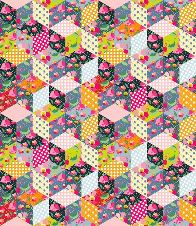 Colorful seamless patchwork pattern. Quilt from different patches with polka dot, flowers, leaves and cups with tea. Illustration