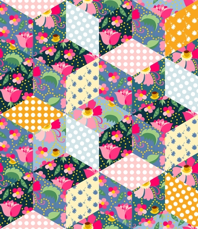 chequered drapery: Seamless pattern of cute quilt. Patchwork from different colorful patches.