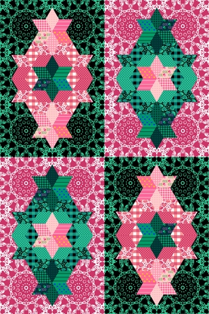quilting: Fantasy patchwork pattern in pink and green tones. Seamless ornamental background. Vector illustration of quilting. Illustration