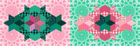 chequered drapery: Fantasy seamless patchwork pattern in pink and green tones. Textile print. Vector illustration. Illustration