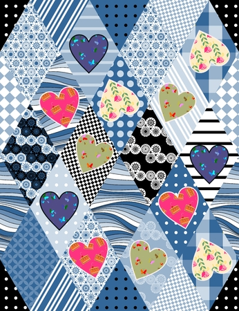 chequered drapery: Seamless patchwork pattern with applique of colorful hearts. Beautiful vector illustration of quilt.