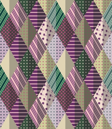 chequered drapery: Vector abstract seamless patchwork pattern. Beautiful illustration of quilt.